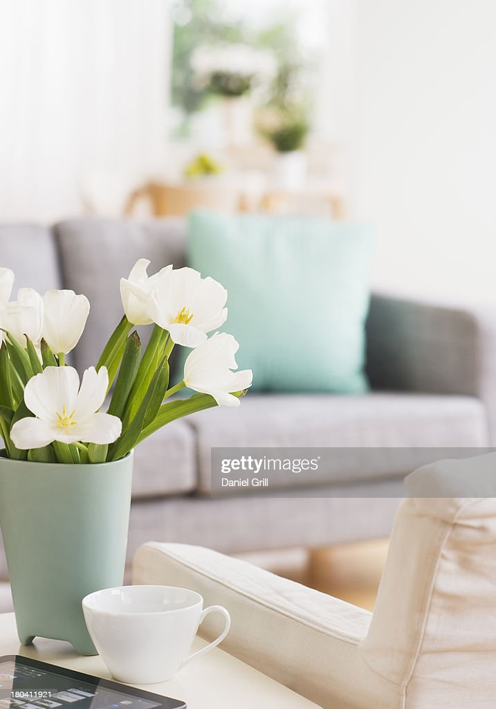 USA, New Jersey, Jersey City, Vase with flowers and digital tablet on coffee table by sofa