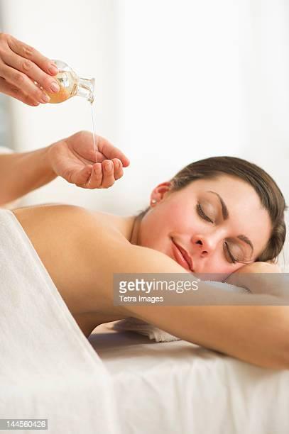 USA, New Jersey, Jersey City, Woman receiving massage