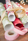 USA, New Jersey, Jersey City, Wrapping papers and ribbons