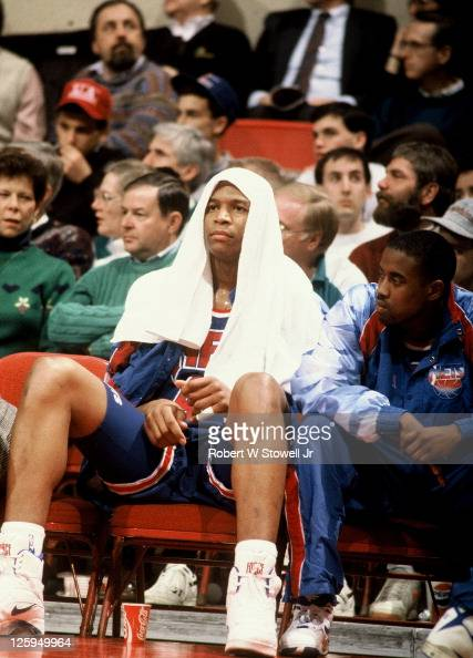 New Jersey Nets forward Derrick Coleman looks on from the bench during a game against the Boston Celtics Hartford CT 1992