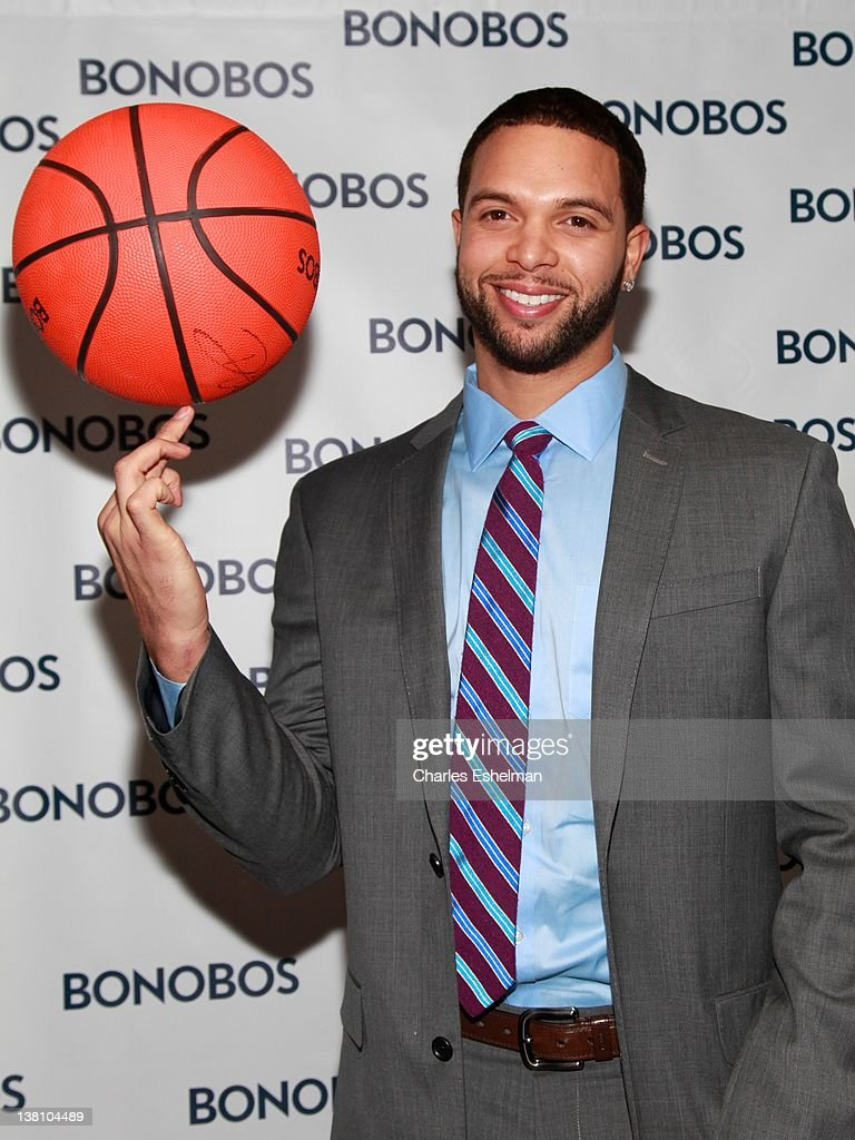 New Jersey Nets guard <a gi-track='captionPersonalityLinkClicked' href=/galleries/search?phrase=Deron+Williams&family=editorial&specificpeople=203215 ng-click='$event.stopPropagation()'>Deron Williams</a> attends the Bonobos New Foundation Suit Collection launch at Catch Roof on February 2, 2012 in New York City.
