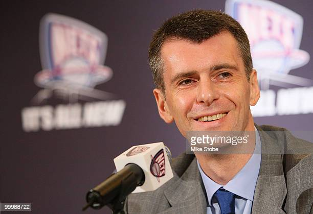New Jersey Nets owner Mikhail Prokhorov addresses the media during a press conference at the Four Seasons Hotel on May 19 2010 in New York City