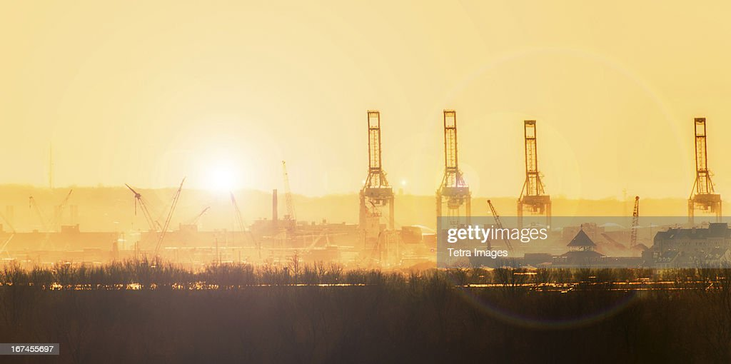 USA, New Jersey, New York Harbor at sunset : Stock Photo