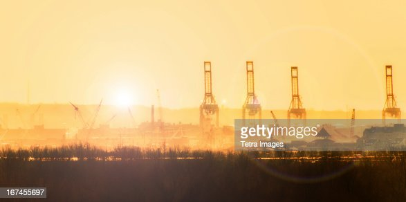 USA, New Jersey, New York Harbor at sunset : Stock Photo