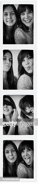USA, New Jersey, Photo booth picture of teenage girl (14-15) and her mom