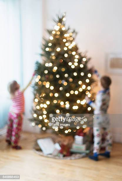 USA, New Jersey, Sister and brother (4-5, 6-7) decorating christmas tree