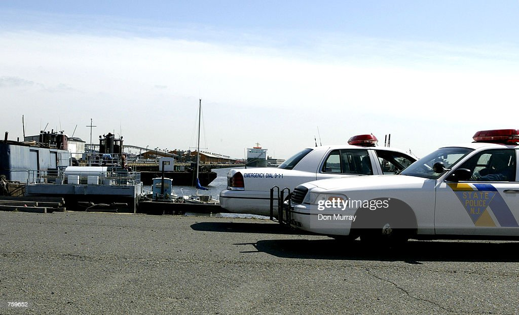 New Jersey State Police patrol the Port NewarkElizabeth Marine Terminal March 27 2002 in Elizabeth NJ A group of government and industry officials...