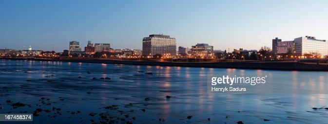 USA, New Jersey, Trenton, Cityscape at night : Stock Photo