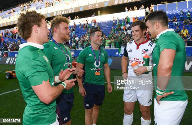 New Jersey United States 10 June 2017 Ireland players from left Kieran Marmion Finlay Bealham John Cooney and Tiernan O'Halloran in conversation with...