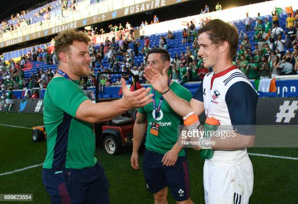 New Jersey United States 10 June 2017 Ireland's Finlay Bealham left shakes with former Connacht teammate AJ MacGinty of USA following their victory...