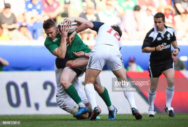 New Jersey United States 10 June 2017 Rory Scannell of Ireland is tackled by AJ MacGinty of USA during the international match between Ireland and...
