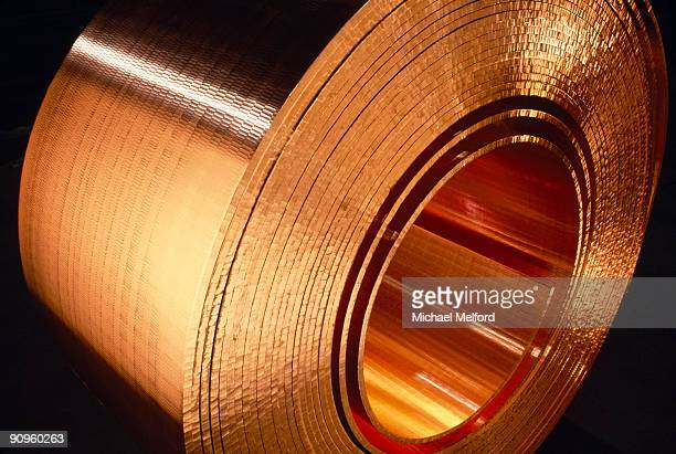 A close view of rolls of copper.
