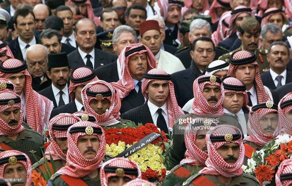 New Jordanian King Abdallah (R) and his brother Ali (C) accompany King Hussein's coffin, as well as (behind from L to R) Turkish President Suleyman Demirel, French President <a gi-track='captionPersonalityLinkClicked' href=/galleries/search?phrase=Jacques+Chirac&family=editorial&specificpeople=165237 ng-click='$event.stopPropagation()'>Jacques Chirac</a> and his US and Egyptian counterparts <a gi-track='captionPersonalityLinkClicked' href=/galleries/search?phrase=Bill+Clinton&family=editorial&specificpeople=67203 ng-click='$event.stopPropagation()'>Bill Clinton</a> and <a gi-track='captionPersonalityLinkClicked' href=/galleries/search?phrase=Hosni+Mubarak&family=editorial&specificpeople=201752 ng-click='$event.stopPropagation()'>Hosni Mubarak</a>, 08 February from the Raghadan palace to the mosque in Amman, where King Hussein is to be buried. The Hashemite Monarch died 07 February at the King Hussein Medical Center in Amman, at the age of 63 after a seven-month-long battle against cancer.