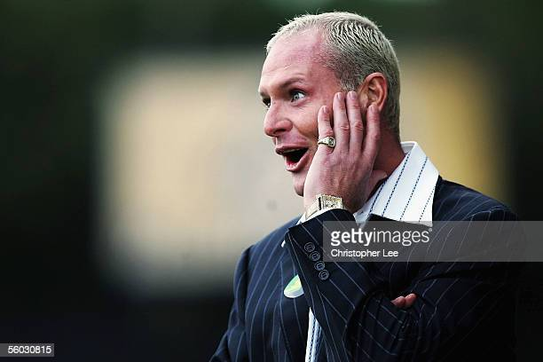 New Kettering manager Paul Gascoigne pulls a face during the Nationwide Conference North match between Kettering Town and Droylsden at Rockingham...