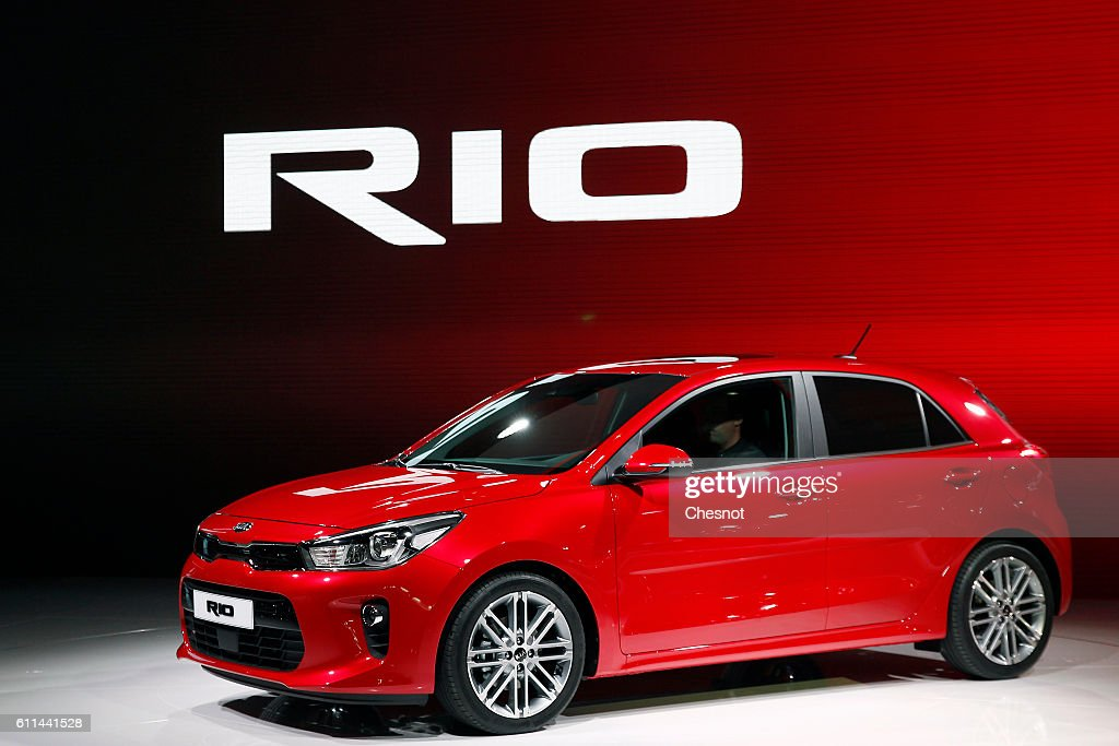 A new Kia Rio automobile sits on display during the first press day of the Paris Motor Show on September 29, 2016, in Paris, France. The Paris Motor Show will showcase the latest models from the auto industry's leading manufacturers at the Paris Expo exhibition centre.
