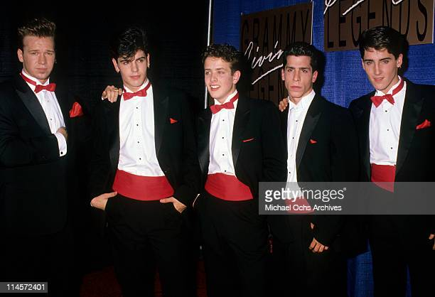 New Kids On The Block Donnie Wahlberg Jordan Knight Joey McIntyre Danny Wood and Jonathan Knight at the taping of the television special 'Grammy...