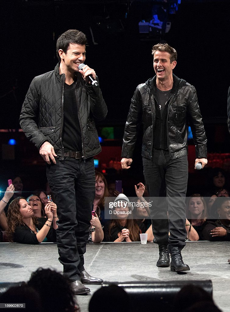 New Kids on the Block members Jordan Knight (L) and Joey McIntyre attend the Package Tour Special Announcement at Irving Plaza on January 22, 2013 in New York City.