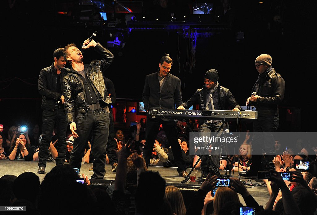 New Kids on the Block perform during upcoming tour announcement at Irving Plaza on January 22, 2013 in New York City.