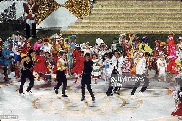 New Kids On The Block perform prior to the New York Giants taking on the Buffalo Bills in Super Bowl XXV at Tampa Stadium on January 27 1991 in Tampa...