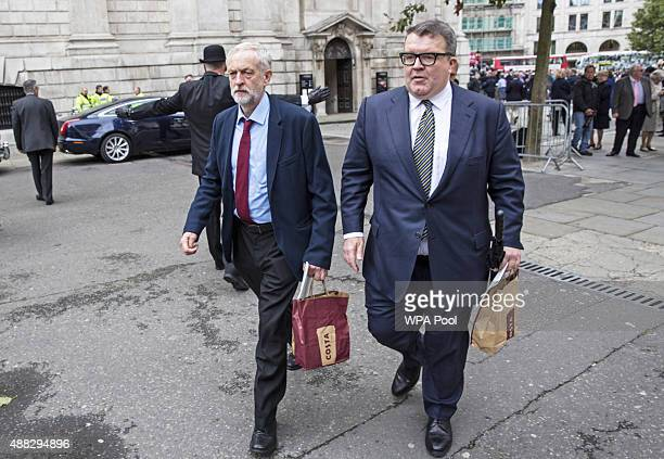 New Labour Jeremy Corbyn and his deputy Tom Watson attend a service to mark the 75th anniversary of the Battle of Britain at St Paul's Cathedral on...