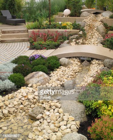 New landscaping with river and bridge