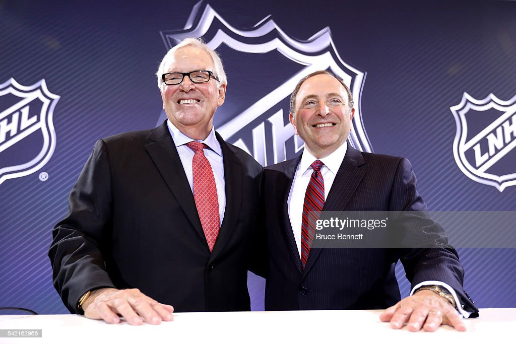 New Las Vegas NHL franchise owner <a gi-track='captionPersonalityLinkClicked' href=/galleries/search?phrase=Bill+Foley+-+Executive&family=editorial&specificpeople=10219510 ng-click='$event.stopPropagation()'>Bill Foley</a> and commissioner <a gi-track='captionPersonalityLinkClicked' href=/galleries/search?phrase=Gary+Bettman&family=editorial&specificpeople=215089 ng-click='$event.stopPropagation()'>Gary Bettman</a> of the National Hockey League pose for a photo during the Board of Governors Press Conference prior to the 2016 NHL Awards at Encore Las Vegas on June 22, 2016 in Las Vegas, Nevada. The NHL's board of governors approved expanding to Las Vegas, making the franchise the 31st team in the league. The team will start play during the 2017-18 season and play at the newly built T-Mobile Arena.