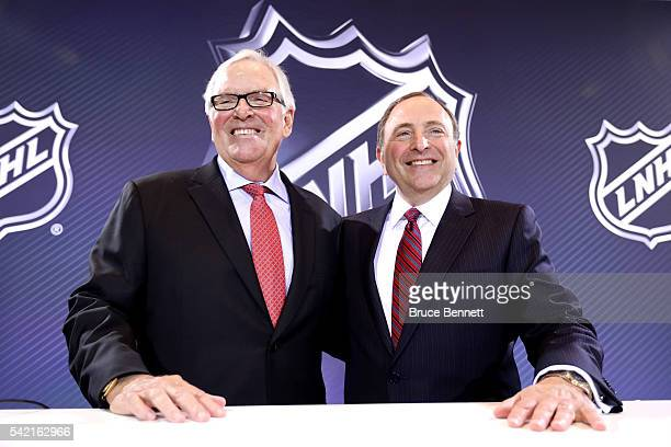 New Las Vegas NHL franchise owner Bill Foley and commissioner Gary Bettman of the National Hockey League pose for a photo during the Board of...