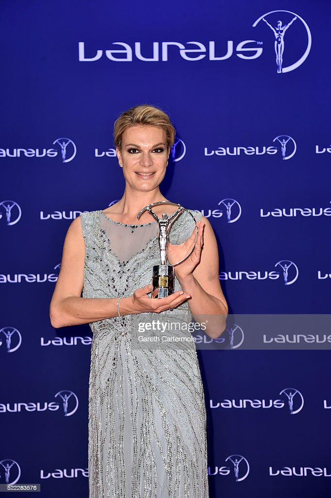 New Laureus Academy Member Maria Hoefl-Riesch attends the 2016 Laureus World Sports Awards at Messe Berlin on April 18, 2016 in Berlin, Germany.