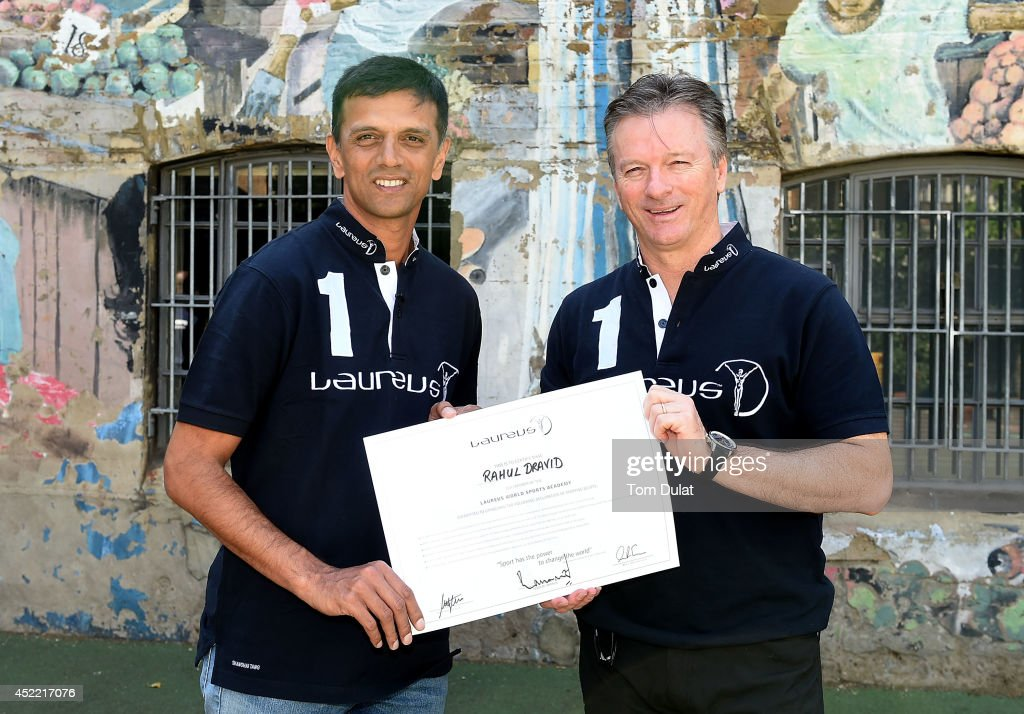 New Laureus Academy Member <a gi-track='captionPersonalityLinkClicked' href=/galleries/search?phrase=Rahul+Dravid&family=editorial&specificpeople=211062 ng-click='$event.stopPropagation()'>Rahul Dravid</a> (L) and Laureus Academy Member <a gi-track='captionPersonalityLinkClicked' href=/galleries/search?phrase=Steve+Waugh&family=editorial&specificpeople=176580 ng-click='$event.stopPropagation()'>Steve Waugh</a> (R) pose for photographs during the <a gi-track='captionPersonalityLinkClicked' href=/galleries/search?phrase=Rahul+Dravid&family=editorial&specificpeople=211062 ng-click='$event.stopPropagation()'>Rahul Dravid</a> Academy Announcement at Christ Church C of E Primary School on July 16, 2014 in London, England.