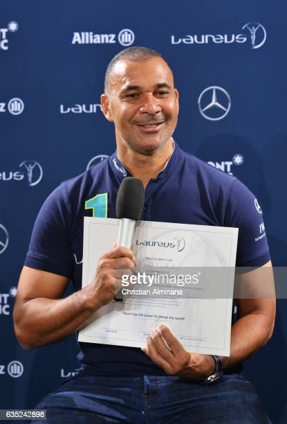 New Laureus Academy member Ruud Gullit poses with his Laureus Academy member certificate at a press conference prior to the 2017 Laureus World Sports...