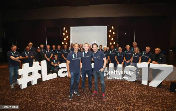 New Laureus Academy members Ruud Gullit Sir Chris Hoy and Fabian Cancellara pose with fellow members prior to the 2017 Laureus World Sports Awards at...