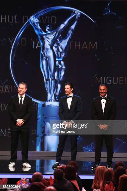 New Laureus Academy Members Sir Chris HoyFabian Cancellara and Ruud Gullit on stage during the 2017 Laureus World Sports Awards at the Salle des...
