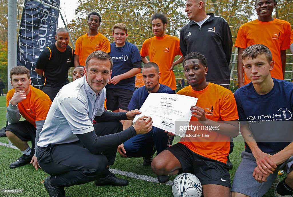 New Laureus Ambassador <a gi-track='captionPersonalityLinkClicked' href=/galleries/search?phrase=Andriy+Shevchenko&family=editorial&specificpeople=220501 ng-click='$event.stopPropagation()'>Andriy Shevchenko</a> meets boys from the Street League National Social Enterprise at Corams Fields on November 2, 2015 in London, England.