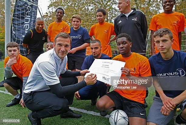 New Laureus Ambassador Andriy Shevchenko meets boys from the Street League National Social Enterprise at Corams Fields on November 2 2015 in London...