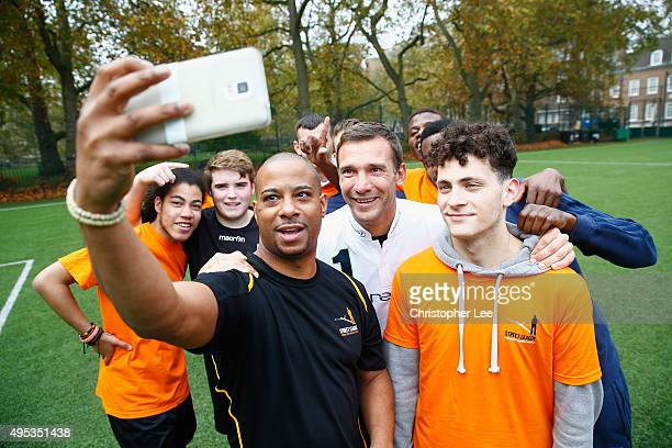 New Laureus Ambassador Andriy Shevchenko takes a selfie with boys from the Street League National Social Enterprise at Corams Fields on November 2...