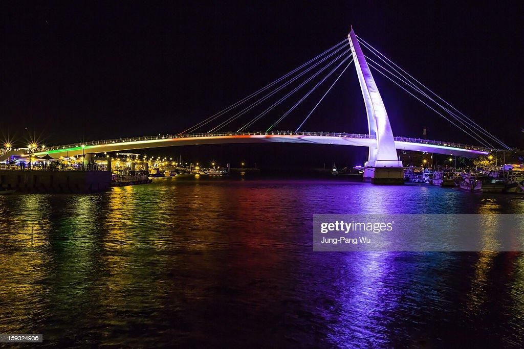 New LED Rainbow Lighting of Lover's Bridge : Stock Photo