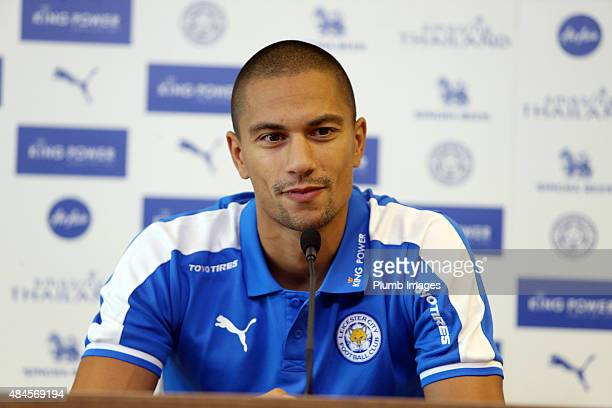 New Leicester signing Gokhan Inler during the Leicester City press conference at The King Power Stadium on August 20 2015 in Leicester England