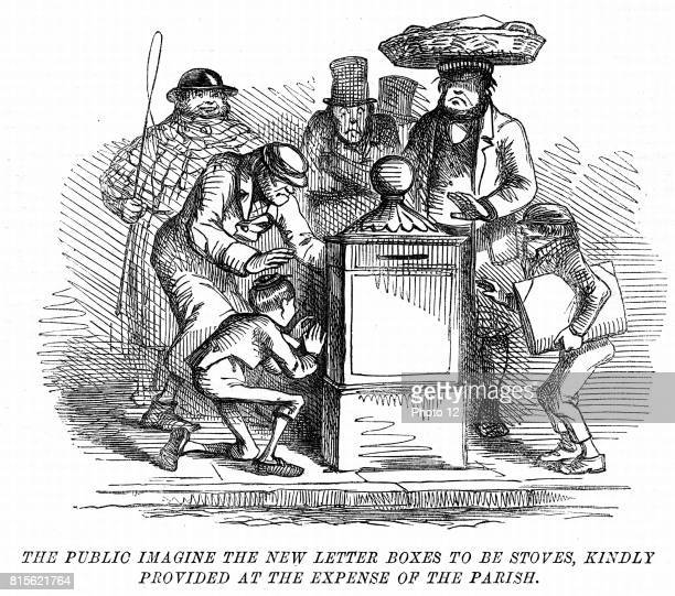New letter boxes erected in London being mistaken for heating stoves Cartoon from 'Punch' London March 1855 Engraving