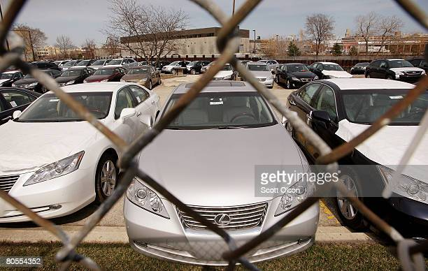 New Lexus vehicles sit on the lot at the McGrath Lexus dealership April 7 2008 in Chicago Illinois Lexus sales fell in March 136 percent compared to...