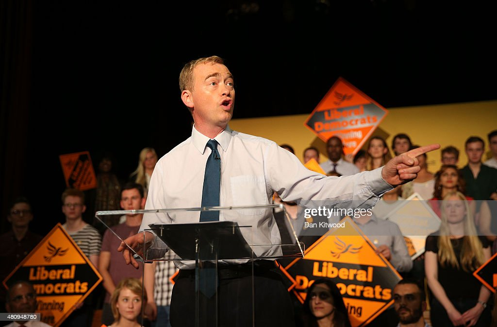 New Liberal Democrat Party Leader Tim Farron gives a speech as he becomes the new leader of the party at Islington Assembly Hall on July 16, 2015 in London, England. Tim Farron, MP for Westmorland and Lonsdale, who was the former party president, will replace Nick Clegg after winning 56.5% of the votes.