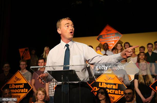 New Liberal Democrat Party Leader Tim Farron gives a speech as he becomes the new leader of the party at Islington Assembly Hall on July 16 2015 in...