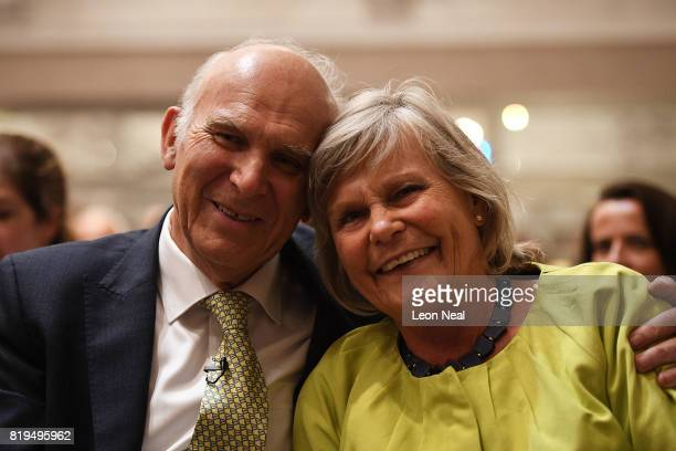 New Liberal Democrats party leader Vince Cable poses with his wife Rachel at a press conference at the St Ermin's Hotel on July 20 2017 in London...