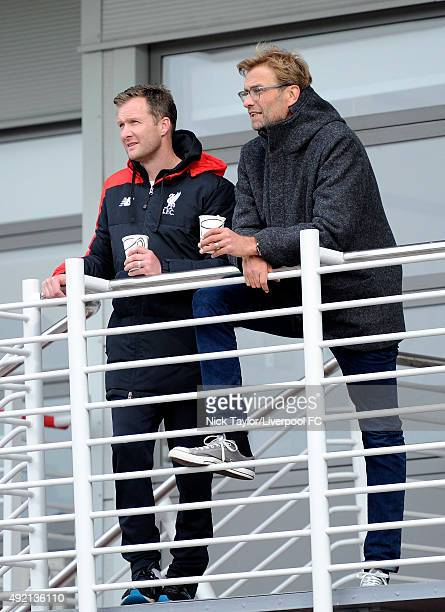 New Liverpool Manager Jurgen Klopp with Academy Director Alex Inglethorpe during the Liverpool v Stoke City U18 Premier League game at the Liverpool...