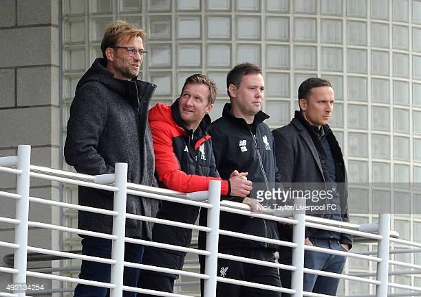 New Liverpool Manager Jurgen Klopp with Academy Director Alex Inglethorpe U21 coach Michael Beale and FirstTeam Development Coach Pepijn Lijnders...