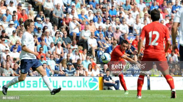 New Liverpool signing Iago Aspas scores against Preston North End during the preseason friendly at Deepdale Preston