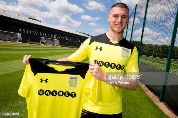 New loan signing Sam Johnstone of Aston Villa poses for a picture at the club's training ground at Bodymoor Heath on July 12 2017 in Birmingham...