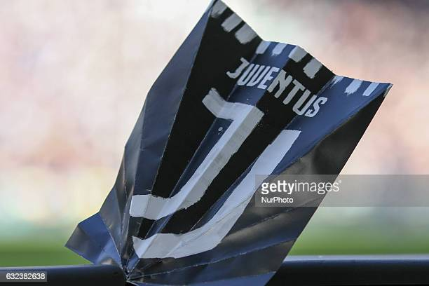 New logo of Juventus presented during the Serie A football match n21 JUVENTUS LAZIO on at the Juventus Stadium in Turin Italy