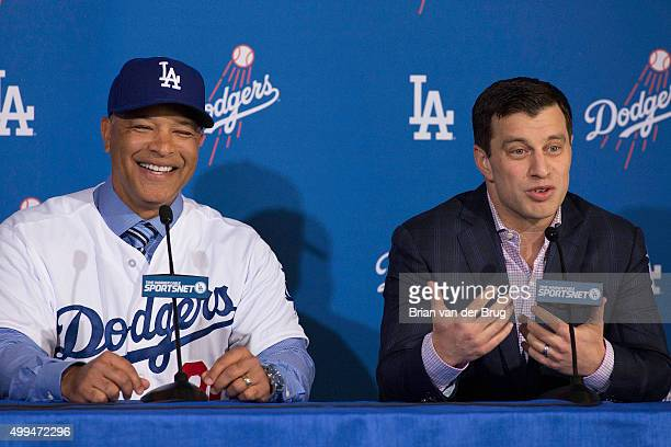 New Los Angeles Dodgers manager Dave Roberts is introduced with President of Baseball Operations Andrew Friedman during a press conference at Dodger...