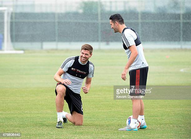 New Los Angeles Galaxy midfielder Steven Gerrard and Robbie Keane during a training session on July 7 2015 at StubHub Center in Carson California The...