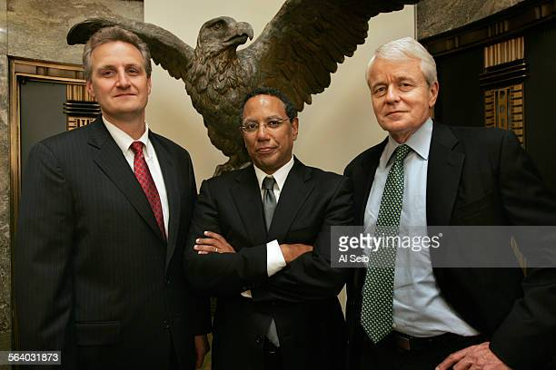 LOS ANGELES CA New Los Angeles Times Editor Los Angeles Times Publisher President and CEO Jeff Johnson with Dean Baquet Times Managing Editor who...